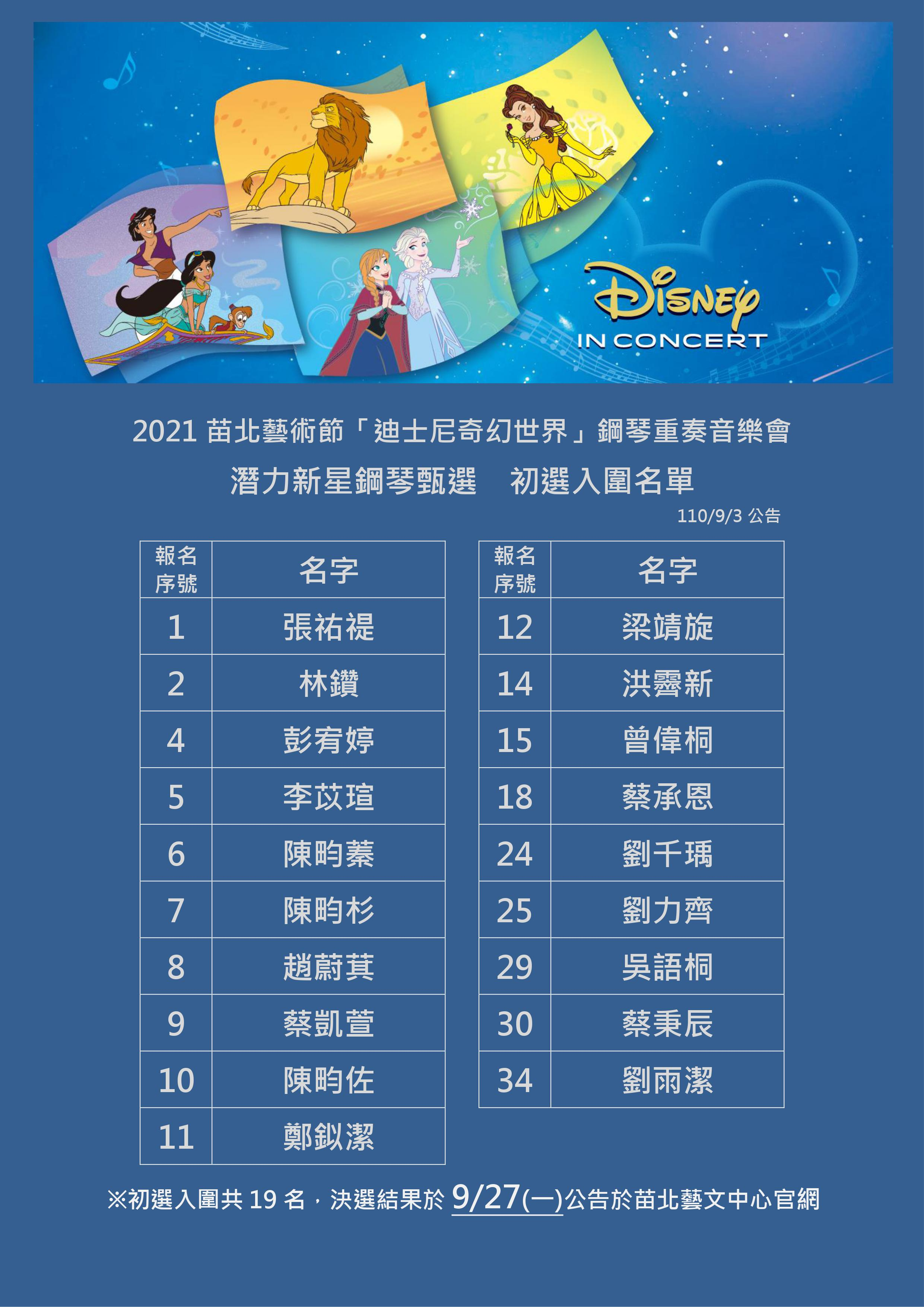 迪士尼甄選初選 (公告)